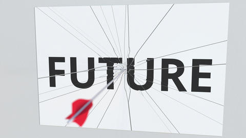 FUTURE text plate being hit by archery arrow. Conceptual 3D animation Footage