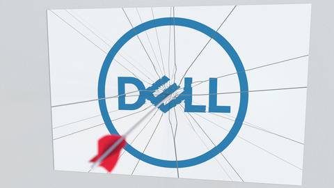DELL company logo being hit by archery arrow. Business crisis conceptual Live Action