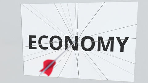 ECONOMY text plate being hit by archery arrow. Conceptual 3D animation Live Action