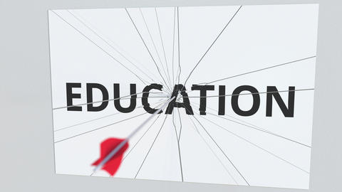 EDUCATION text plate being hit by archery arrow. Conceptual 3D animation Footage