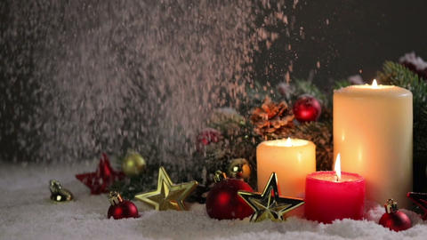 Christmas candles with decoration Footage