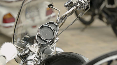 Showcase of brand new out of store motorbike, stainless vehicle, machinery Footage