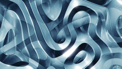 Blue Glass 4 - 4k Curvy Glass-like Surface Video Background Loop Animation