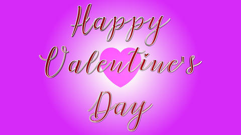 Happy Valentine s Day 3D Text Looping Animation - Heart Shapes On Pink Footage