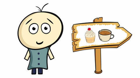 Character on white and cake sign Animation