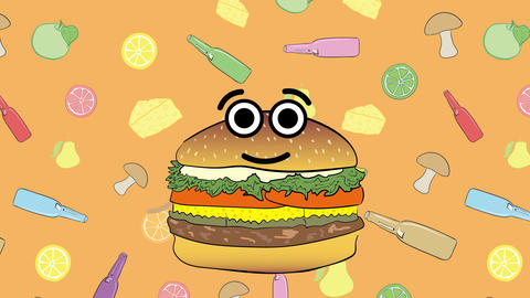 Cheeseburger and bottles Animation