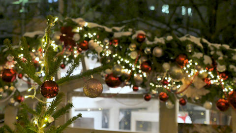 Street cafe is beautiful for Christmas. Festive atmosphere in the street. The Footage