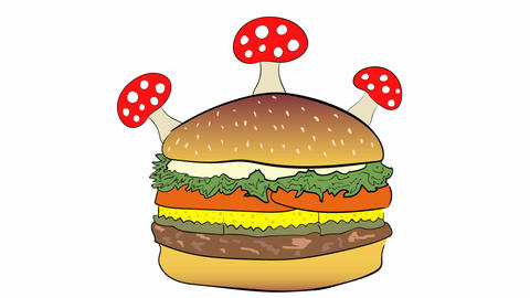 Cheeseburger and fly agaric Animation