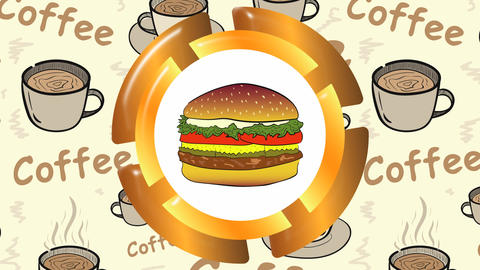 Cheeseburger icon and coffee Animation