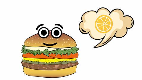 Cheeseburger thinks of orange Animation