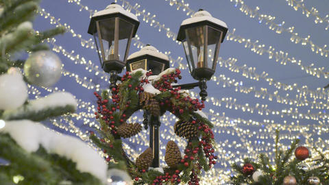 Street lamp decorated with New Year decorations. Bottom... Stock Video Footage