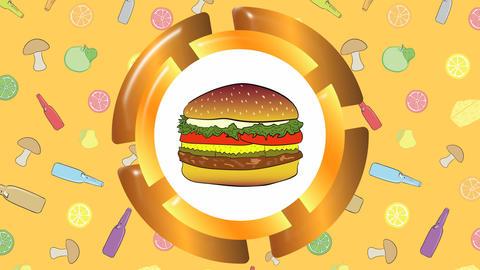 Cheeseburger, mushrooms and bottle Animation