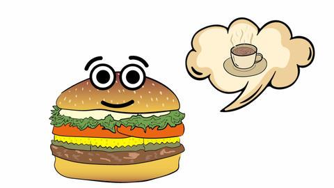 Cheeseburger thinks of coffee Animation