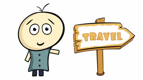 Character on white and travel sign Animation