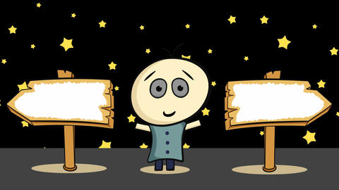 Character with road sign and stars Animation