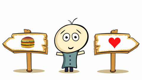 Choice cheeseburger or heart on white Animation