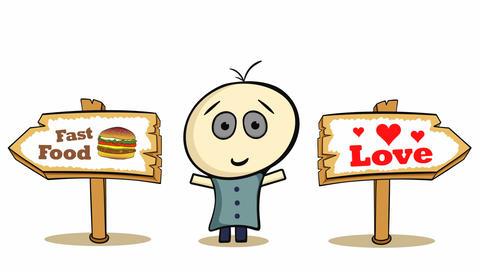 Choice cheeseburger and love on white Animation