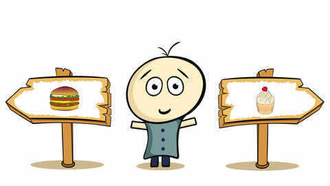 Choice cheeseburger or cake on white Animation