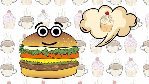 Cheeseburger on cakes thinks of cake Animation