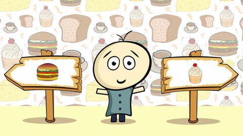 Choice cheeseburger or cake Animation