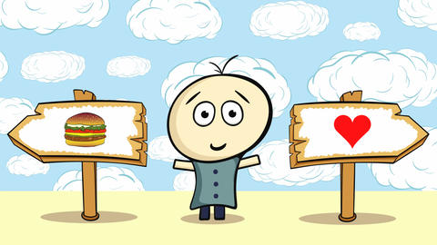 Choice cheeseburger or heart and sky Animation