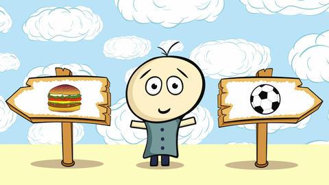 Choice cheeseburger or soccerball and cloud Animation