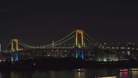 Night view of Tokyo seen from Tokyo Bay - Pan right to left Acción en vivo