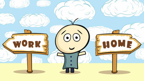 Choice work or home in ckouds Animation