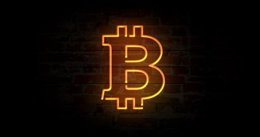Bitcoin neon sign CG動画素材