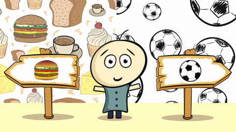 Choice with food and soccerballs Animation
