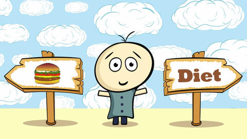 Choice burger or diet Animation