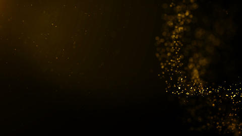 Background gold movement. Universe gold dust with stars on black background Live Action