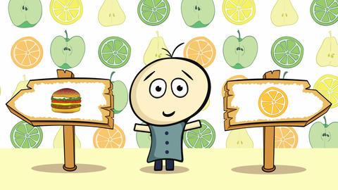 Choice orange or cheeseburger Animation