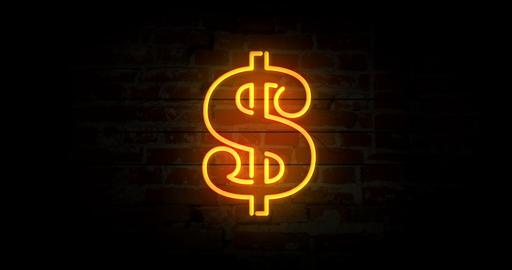 Dollar symbol neon sign Animation