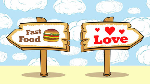 Fast food or love on clouds Animation