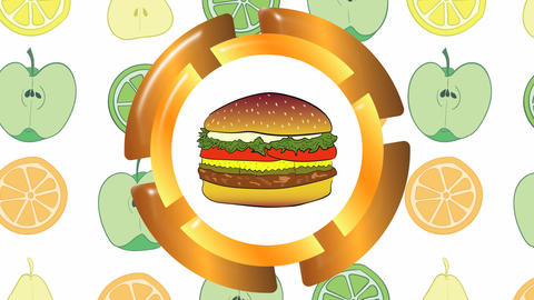 Icon of cheeseburger and fruit Animation