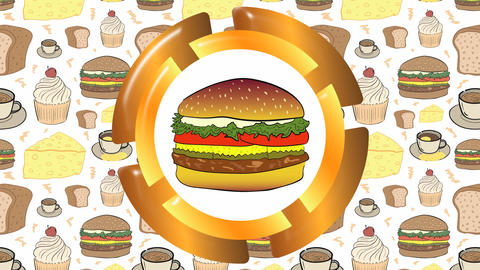Icon with burger and food Animation