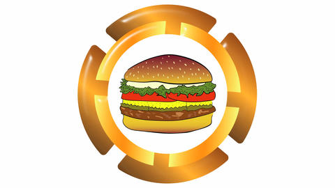 Icon with burger on white Animation