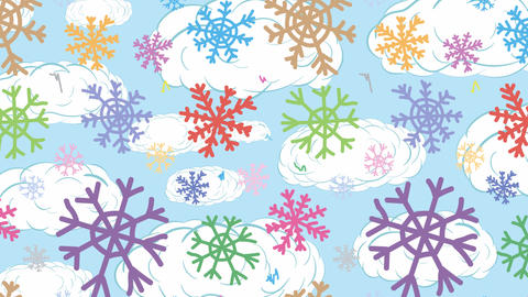 Snowflakes colorful and clouds Animation