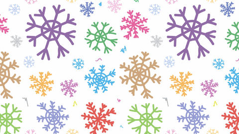 Snowflakes colorful fall down Animación