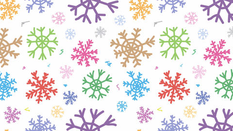 Snowflakes colorful on white Animación