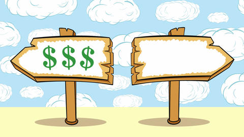 Way choice dollars on clouds Animation