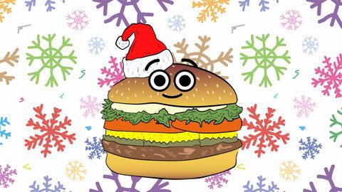 Xmas cheeseburger and colorful snowflakes Animation