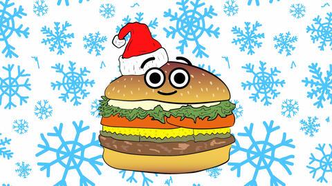 Xmas cheeseburger and blue snowflakes Animation