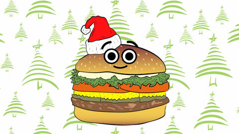 Xmas cheeseburger and green Christmas trees Animation