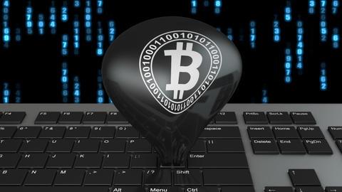 key with a Bitcoin logo Animation