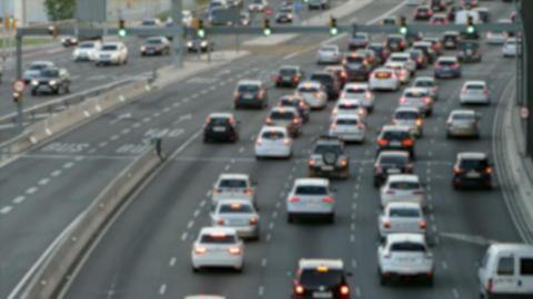 Blurred urban traffic scene Footage