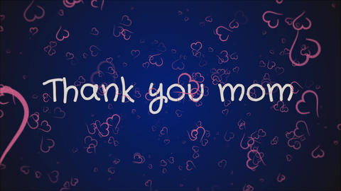 Animation Thank you mom, mother's day, greeting card Stock Video Footage