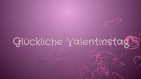Animation Gluckliche Valentinstag, Happy Valentine's day in german language Footage