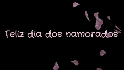 Animation Feliz dia dos Namorados, Happy Valentine's day in portuguese language Footage
